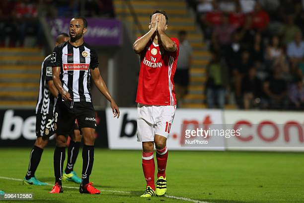 Benfica's Brazilian forward Jonas reacts after missing a goal during Premier League 2016/17 match between CD Nacional and SL Benfica at Choupana...