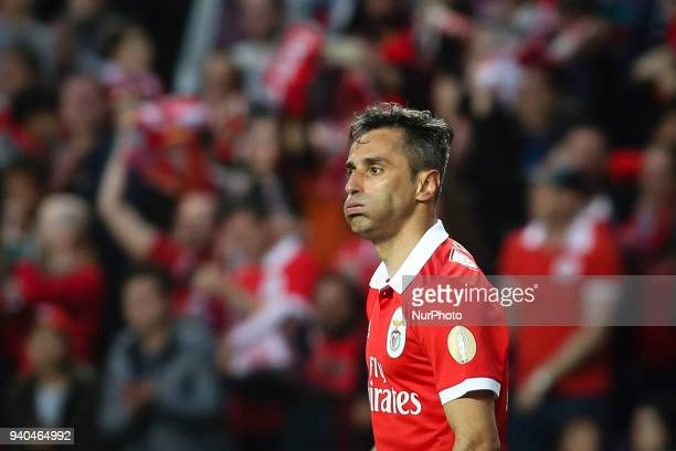 Benfica's Brazilian forward Jonas reacts during the Portuguese League football match between SL Benfica and Vitoria SC at Luz Stadium in Lisbon on...