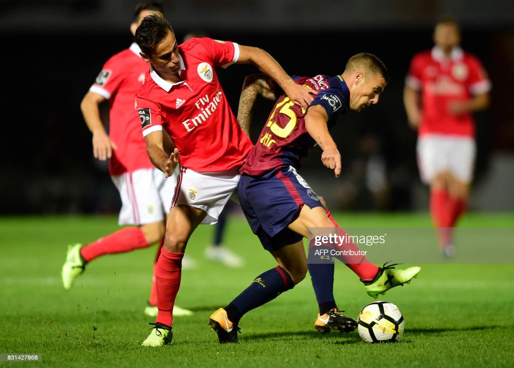 Benfica's Brazilian forward Jonas (L) vies with Chaves' midfielder Pedro Tiba during the Portuguese league football match between GD Chaves and SL Benfica at the Municipal Eng. Manuel Branco Teixeira stadium in Chaves on August 14, 2017. /