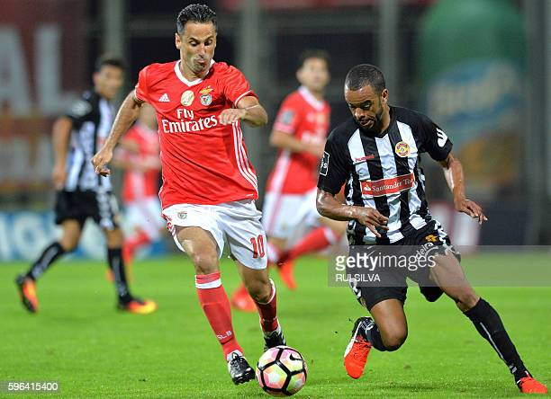 Benfica's Brazilian forward Jonas vies with Nacional's Brazilian forward Washington during the Portuguese league football match CD Nacional Funchal...