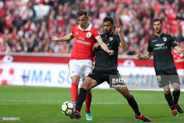 Benfica's Brazilian forward Jonas vies with Vitoria Guimaraes' defender Jubal of Brasil during the Portuguese League football match SL Benfica vs...