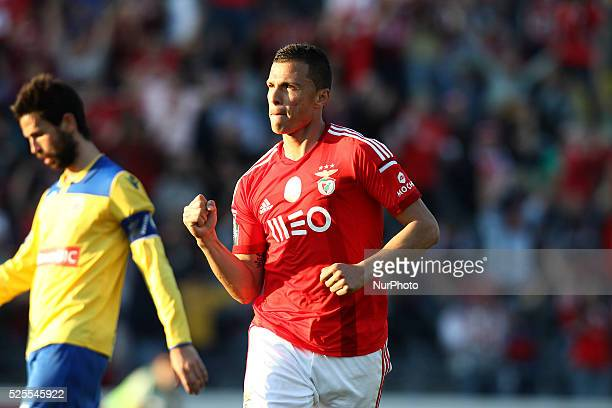 Benfica's Brazilian forward Lima celebrates after scoring a goal during the Premier League 2014/15 match between FC Arouca and SL Benfica at...