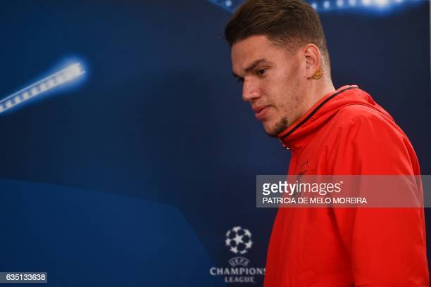 Benfica's Brazilian goalkeeper Ederson Moraes arrives to a press conference at Luz stadium in Lisbon on February 13 2017 on the eve of their UEFA...