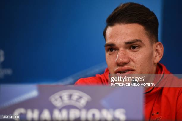 Benfica's Brazilian goalkeeper Ederson Moraes attends a press conference at Luz stadium in Lisbon on February 13 2017 on the eve of their UEFA...