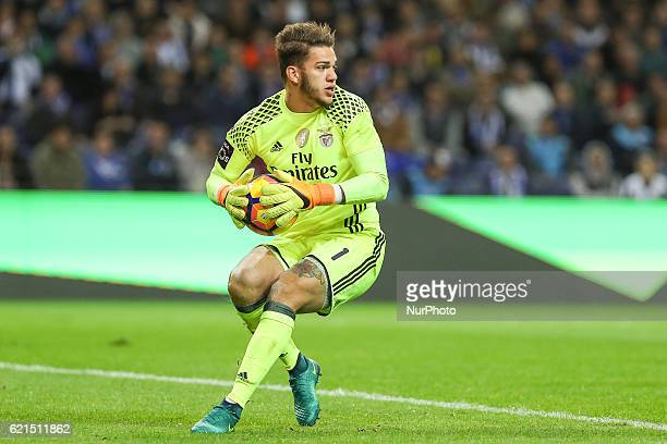 Benfica's Brazilian goalkeeper Ederson Moraes in action during the Premier League 2016/17 match between FC Porto and SL Benfica at Dragao Stadium in...