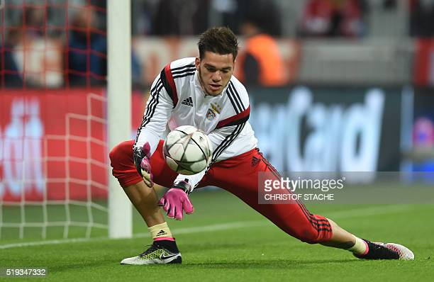 Benfica's Brazilian goalkeeper Ederson warms up prior the Champions League quarterfinal firstleg football match between Bayern Munich and SL Benfica...