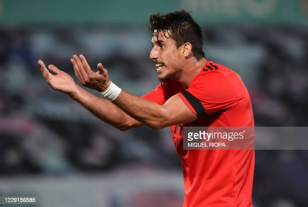 Benfica's Brazilian midfielder Gabriel celebrates after scoring a goal during the Portuguese League football match between Rio Ave FC and SL Benfica...