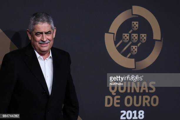 Benfica's chairman Luis Filipe Vieira poses on arrival at 'Quinas de Ouro' ceremony held at Pavilhao Carlos Lopes in Lisbon on March 19 2018