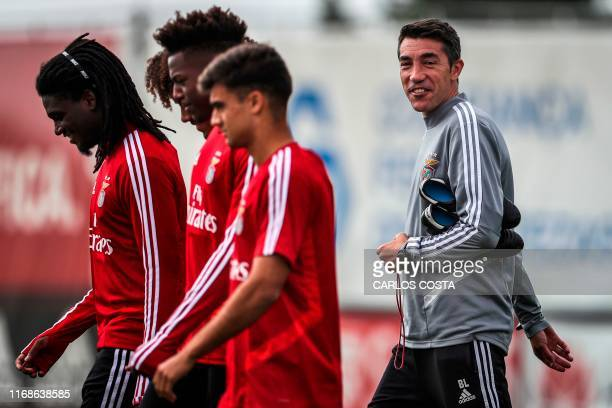 Benfica's coach Bruno Lage arrives for a training session at the club's training grounds in Seixal in the outskirts of Lisbon on September 16 on the...