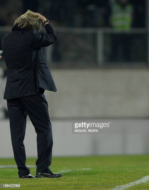 Benfica's coach Jorge Jesus gestures during their Portuguese super league football match against Vitoria SC at the Afonso Henriques Stadium in...
