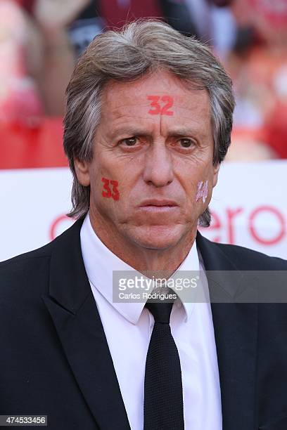 Benfica's coach Jorge Jesus looks on during the Primeira Liga match between Benfica and Maritimo at Estadio da Luz on May 23 2015 in Lisbon Portugal