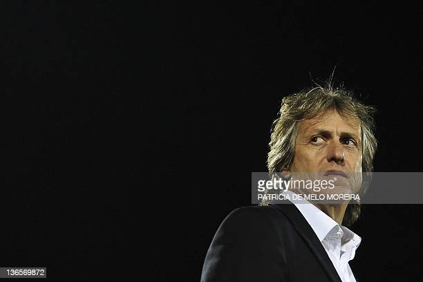 Benfica's coach Jorge Jesus looks on prior to the start of the Portuguese league football match between Benfica and Leiria at the Marinha Grande...