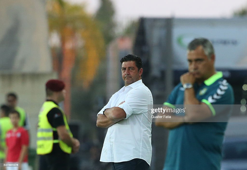 SL Benfica's coach Rui Vitoria in action during the Algarve Football Cup Pre Season Friendly match between SL Benfica and Vitoria Setubal at Estadio do Algarve on July 14, 2016 in Faro, Portugal.