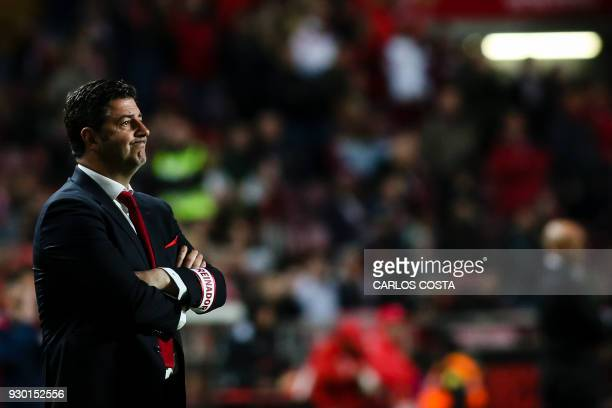 Benfica's coach Rui Vitoria looks on from the sideline during the Portuguese league football match between SL Benfica and CD Aves at the La Luz...