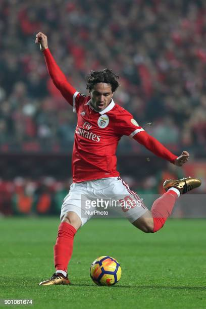 Benfica's Croatian forward Filip Krovinovic in action during the Portuguese League football match SL Benfica vs Sporting CP at the Luz stadium in...