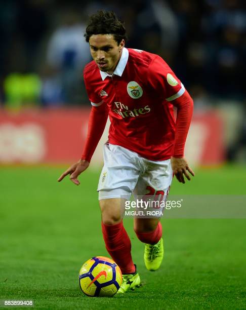Benfica's Croatian midfielder Filip Krovinovic controls the ball during the Portuguese league football match FC Porto vs SL Benfica at the Dragao...