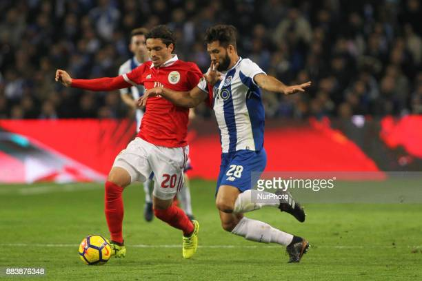 Benfica's Croatian midfielder Filip Krovinovic with Porto's Brazilian defender Felipe during the Premier League 2016/17 match between FC Porto and SL...