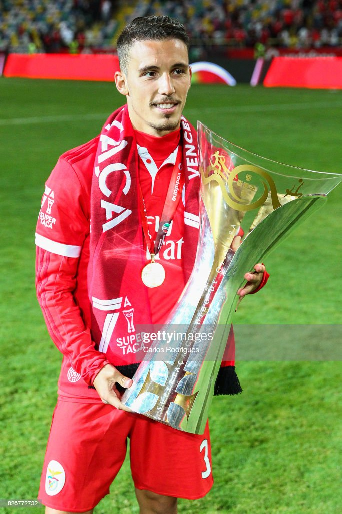 Benfica's defender Alejandro Grimaldo from Spain with Portuguese Super Cup trophy after the match between SL Benfica and VSC Guimaraes at Estadio Municipal de Aveiro on August 05, 2017 in Lisbon, Portugal.