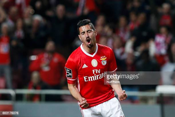 Benfica's defender Andre Almeida celebrates his goal during Premier League 2016/17 match between SL Benfica vs CF Belenenses in Lisbon on March 13...