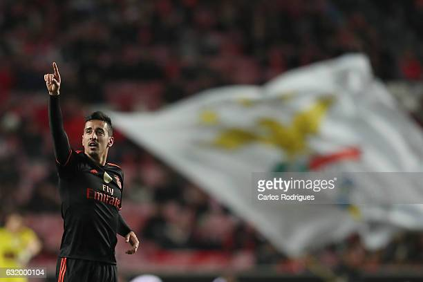 Benfica's defender Andre Almeida from Portugal celebrates scoring Benfica second goal during the match between SL Benfica and Leixoes for the...