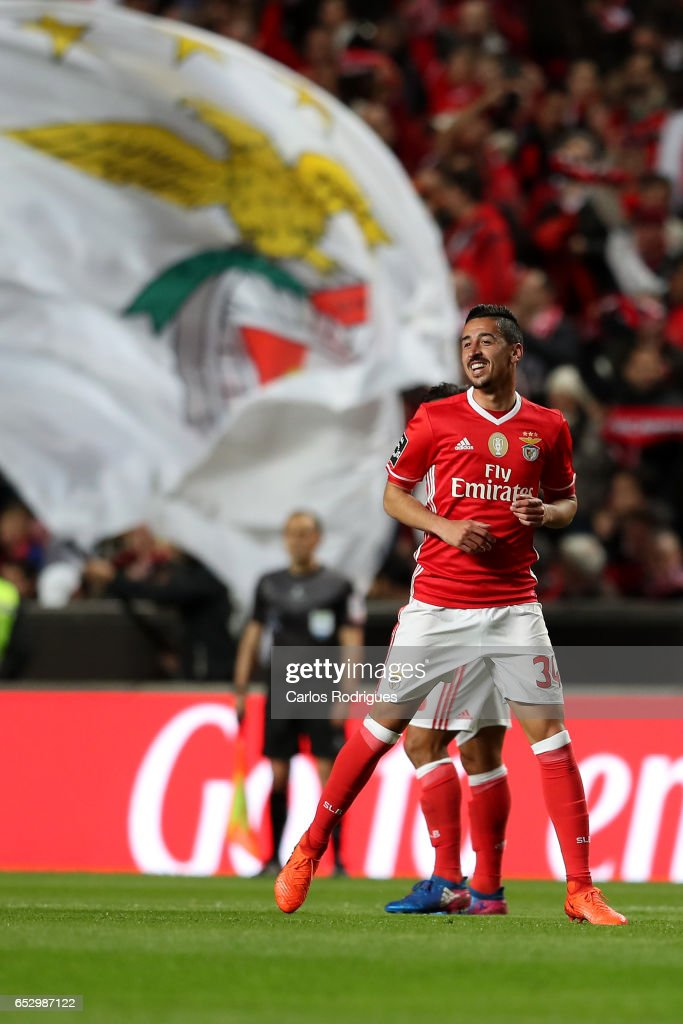 Benfica's defender Andre Almeida from Portugal celebrates scoring Benfica goal during the match between SL Benfica and CF Os Belenenses for the Portuguese Primeira Liga at Estadio da Luz on March 13, 2017 in Lisbon, Portugal.