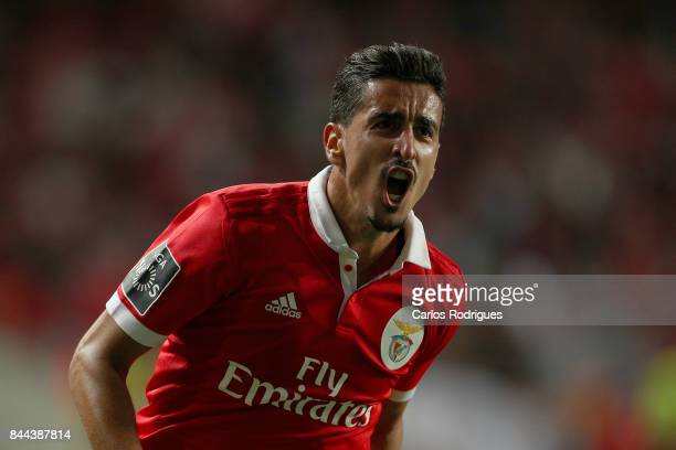 Benfica's defender Andre Almeida from Portugal celebrates scoring Benfica second goal during the match between SL Benfica and Portimonense SC for the...