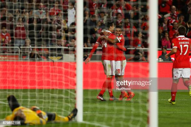 Benficas defender Andre Almeida from Portugal celebrating after scoring a goal during the Premier League 2017/18 match between SL Benfica and FC...