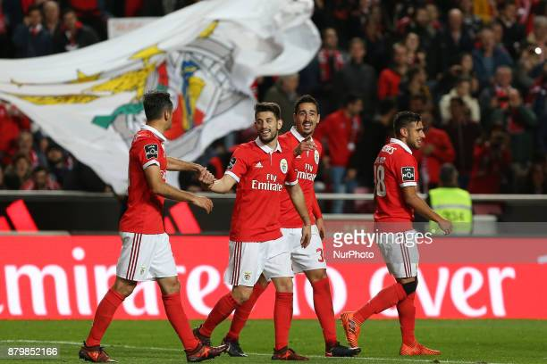 Benficas defender Andre Almeida from Portugal celebrating with is team mate after scoring a goal during the Premier League 2017/18 match between SL...
