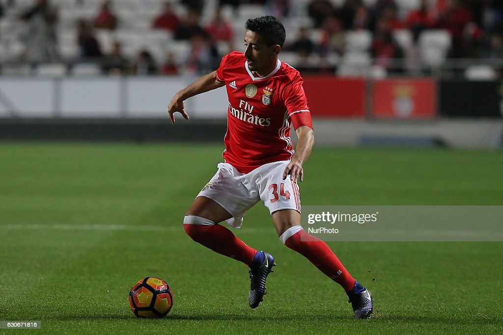 Benficas defender Andre Almeida from Portugal during the Portuguese Cup 2016/17 match between SL Benfica v FC Pacos Ferreira, at Luz Stadium in Lisbon on December 29, 2016.