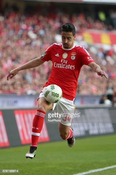 Benfica's defender Andre Almeida in action during the Portuguese League football match SL Benfica vs Vitoria Guimaraes SC at Luz stadium in Lisbon on...