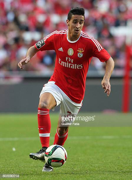 Benfica's defender Andre Almeida in action during the Primeira Liga match between SL Benfica and Rio Ave FC at Estadio da Luz on December 20 2015 in...