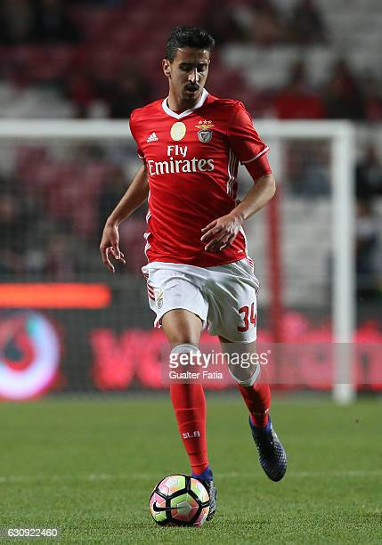 Benfica's defender Andre Almeida in action during the Primeira Liga match between SL Benfica and FC Vizela at Estadio da Luz on January 3 2017 in...