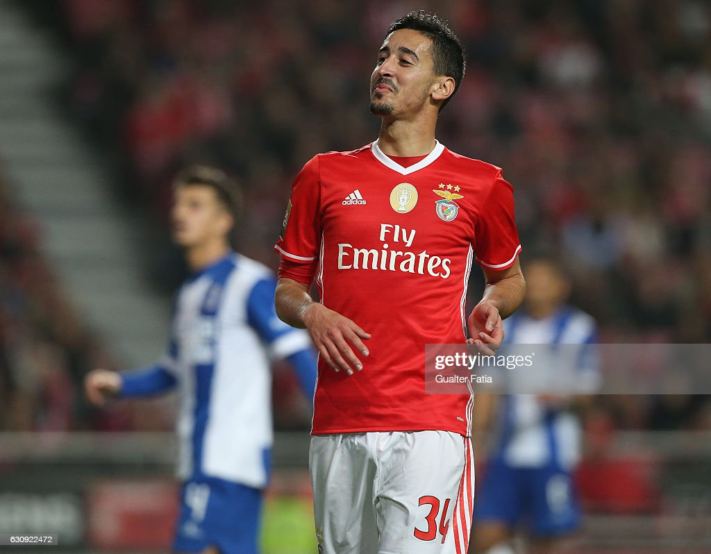 SL Benfica's defender Andre Almeida reaction after missing a goal opportunity during the Primeira Liga match between SL Benfica and FC Vizela at Estadio da Luz on January 3, 2017 in Lisbon, Portugal.