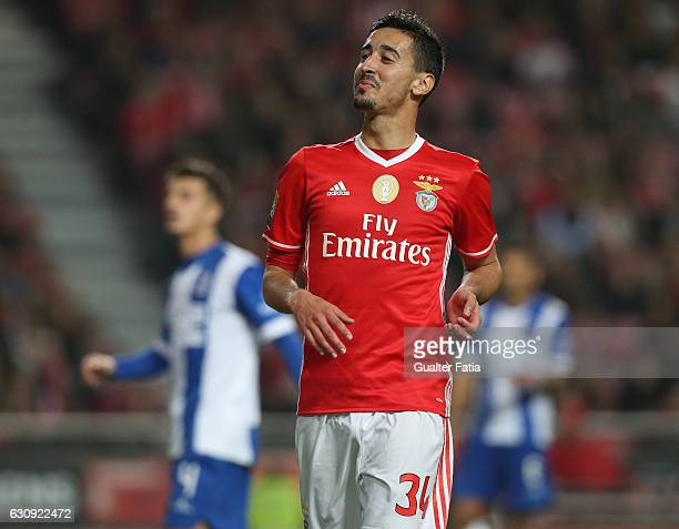 Benfica's defender Andre Almeida reaction after missing a goal opportunity during the Primeira Liga match between SL Benfica and FC Vizela at Estadio...