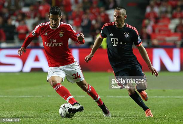 Benfica's defender Andre Almeida with FC Bayern Munchen's midfielder from France Franck Ribery in action during the UEFA Champions League Quarter...