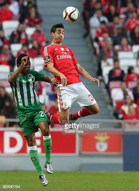 Benfica's defender Andre Almeida with Rio Ave FC's forward Heldon in action during the Primeira Liga match between SL Benfica and Rio Ave FC at...