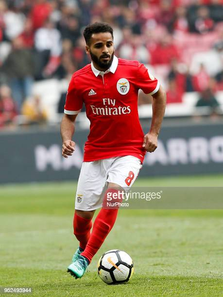 Benfica's defender Douglas in action during the Portuguese League football match between SL Benfica and Tondela at Luz Stadium in Lisbon on April 28...