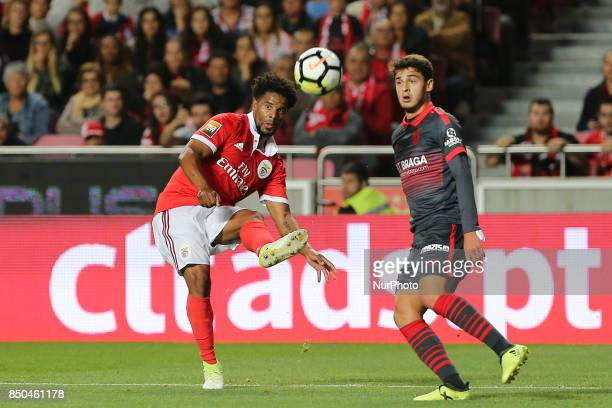 Benficas defender Eliseu from Portugal and Bragas forward Bruno Xadas from Portugal during the Portuguese Cup 2017/18 match between SL Benfica v SC...