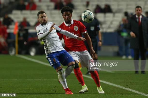 Benficas defender Eliseu from Portugal and Fc Basel forward Renato Steffen from Switzerland during the match between SL Benfica v FC Basel UEFA...