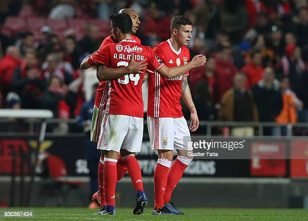 Benfica's defender from Brazil Luisao celebrates with teammates SL Benfica's defender from Sweden Victor Lindelof and SL Benfica's defender Andre...