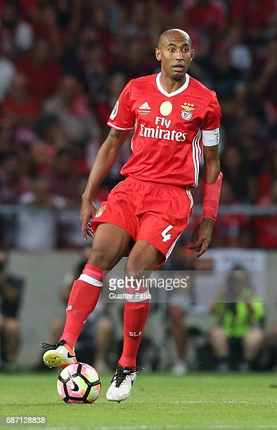 Benfica's defender from Brazil Luisao in action during the Super Cup match between SL Benfica and SC Braga at Estadio Municipal de Aveiro on August 7...