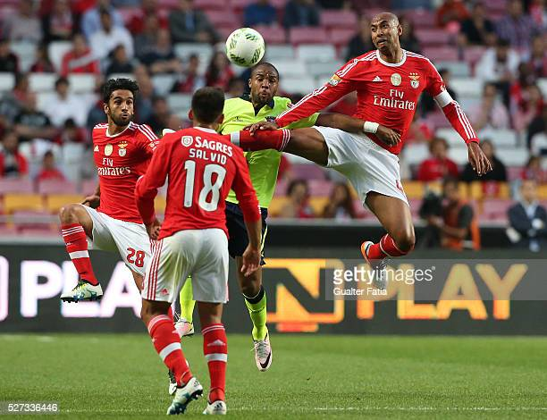 Benfica's defender from Brazil Luisao with SC Braga's forward Wilson Eduardo in action during the Taca CTT match between SL Benfica and SC Braga at...