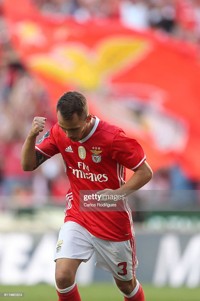 SL Benfica's defender from Spain Alex Grimaldo celebrates scoring Benfica's fourth goal during the SL Benfica v CD Feirense - Primeira Liga match at Estadio da Luz on October 02, 2016 in Lisbon, Portugal.