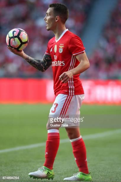 Benfica's defender from Spain Alex Grimaldo in action during the Primeira Liga match between SL Benfica and GD Estoril Praia at Estadio da Luz on...