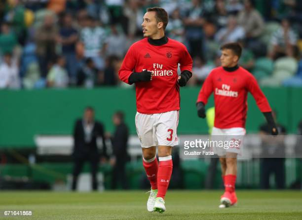 Benfica's defender from Spain Alex Grimaldo in action during warm up before the start of the Primeira Liga match between Sporting CP and SL Benfica...
