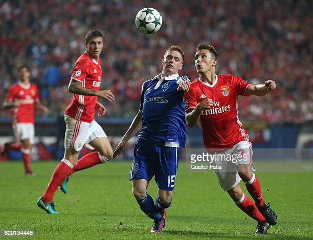 Benfica's defender from Spain Alex Grimaldo with FC Dynamo Kyiv's forward Viktor Tsygankov from Ukraine in action during the UEFA Champions League...