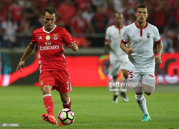 Benfica's defender from Spain Alex Grimaldo with SC Braga's Portuguese midfielder Pedro Tiba in action during the Super Cup match between SL Benfica...