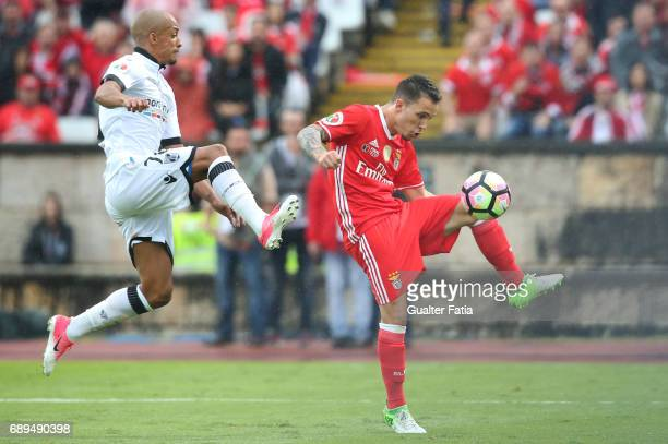 Benfica's defender from Spain Alex Grimaldo with Vitoria Guimaraes' defender Bruno Gaspar in action during the Portuguese Cup Final match between SL...