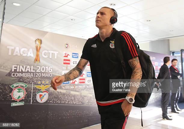Benfica's defender from Sweden Victor Lindelof arrives at Estadio Efapel Cidade de Coimbra before the start of the Taca CTT Final match between SL...