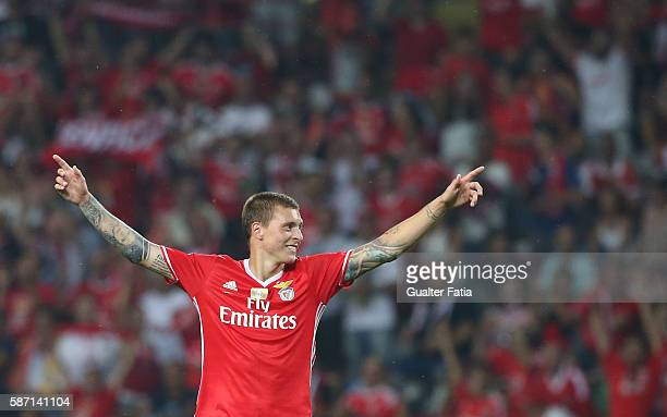 Benfica's defender from Sweden Victor Lindelof at the end of the Super Cup match between SL Benfica and SC Braga at Estadio Municipal de Aveiro on...